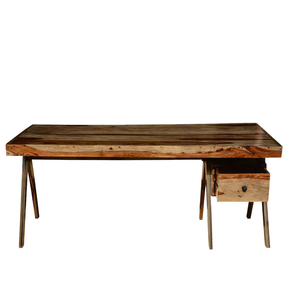 Rustic Artist Solid Wood 72 Dining Table With Drawer: dining table with drawer