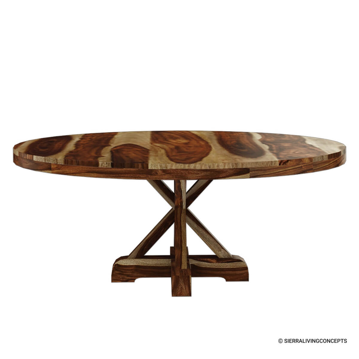 Bedford rustic solid wood 72 x pedestal round dining table for Solid wood round tables dining
