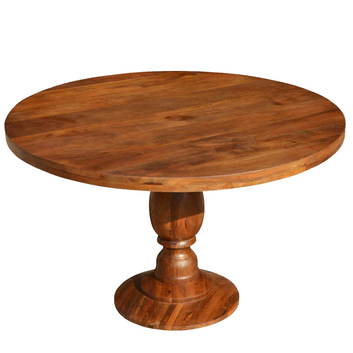 Rustic colonial american solid wood 48 round pedestal for Solid wood round tables dining