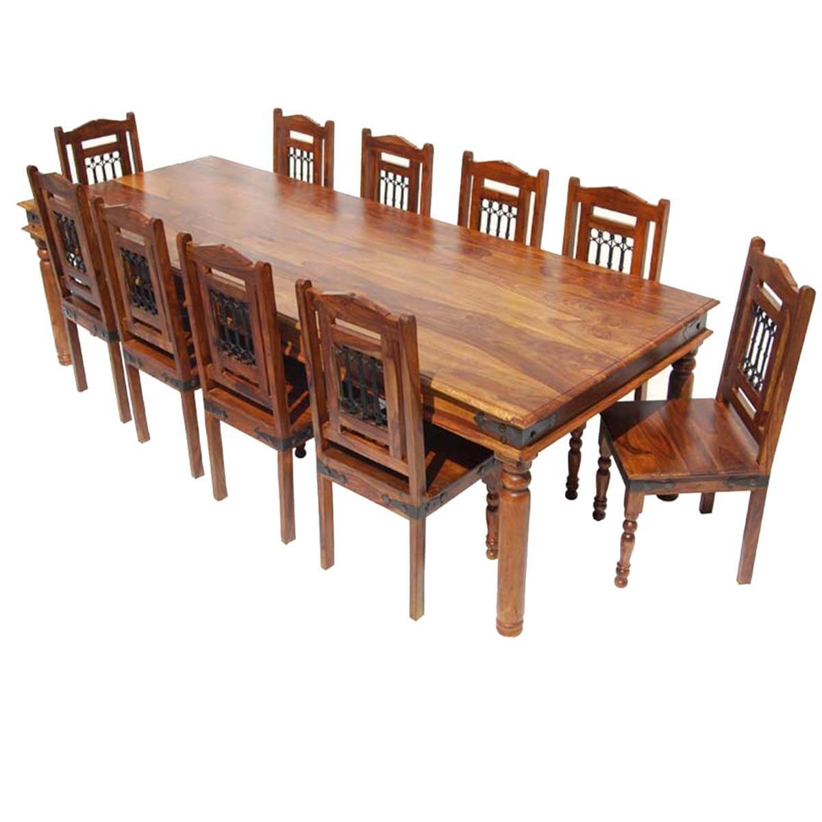 Solid wood large rustic dining room table chair buffet for Solid wood dining table sets