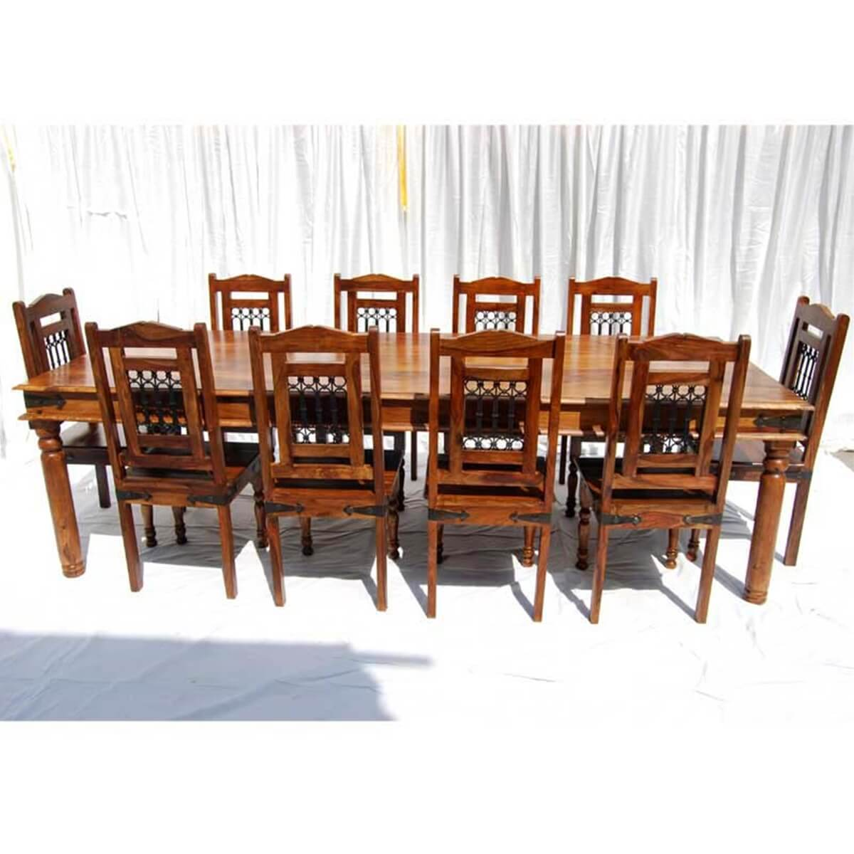 Solid wood large rustic dining room table chair buffet for Dining room table and buffet sets