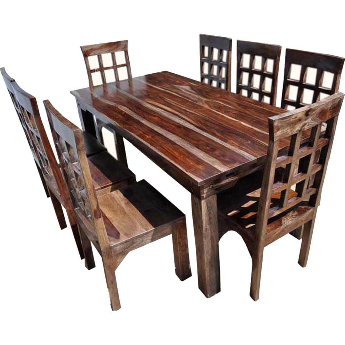 Farmhouse solid wood dining table chairs sideboard set for Solid wood dining table sets