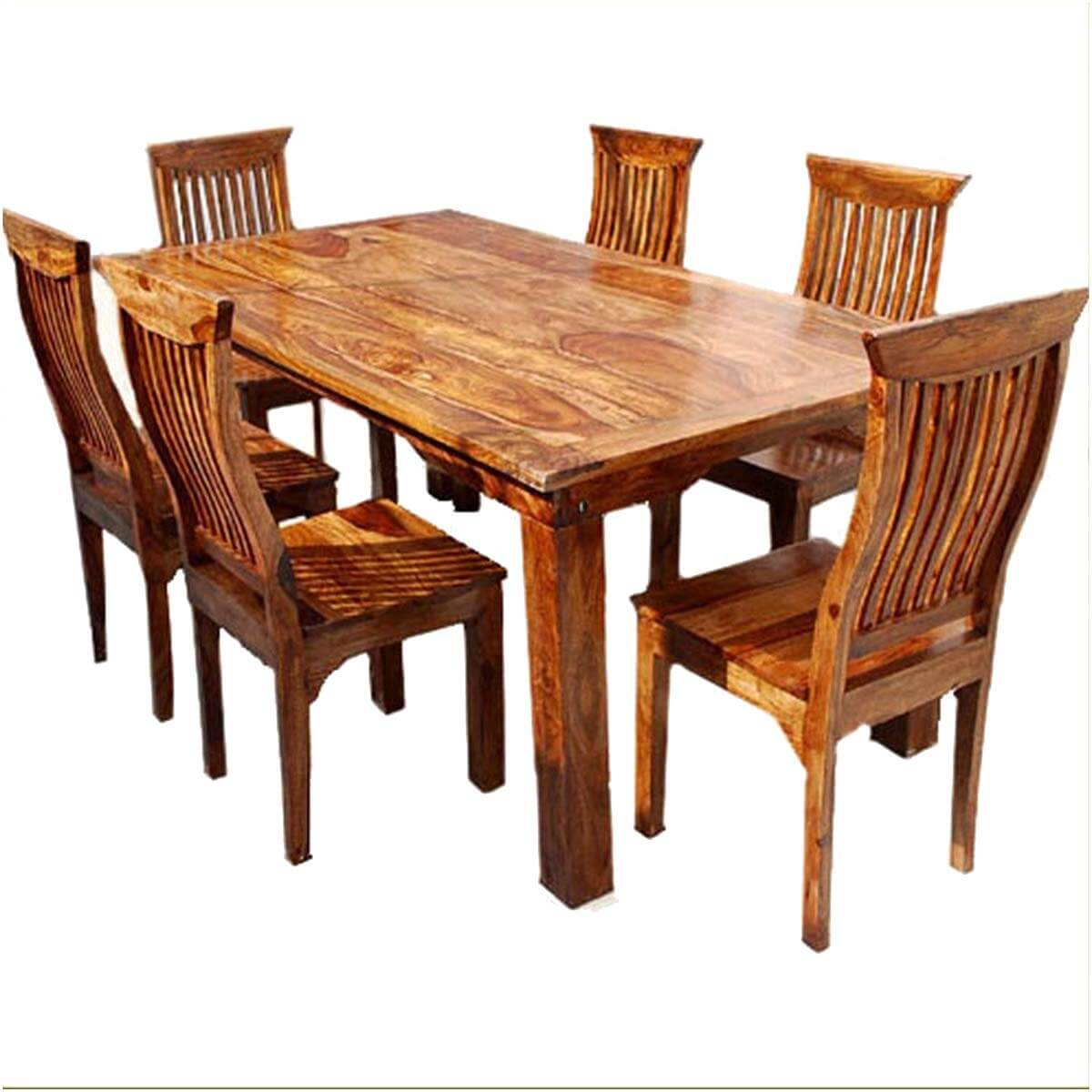 Dallas ranch solid wood rustic dining table chairs hutch set for Unique wood dining room tables