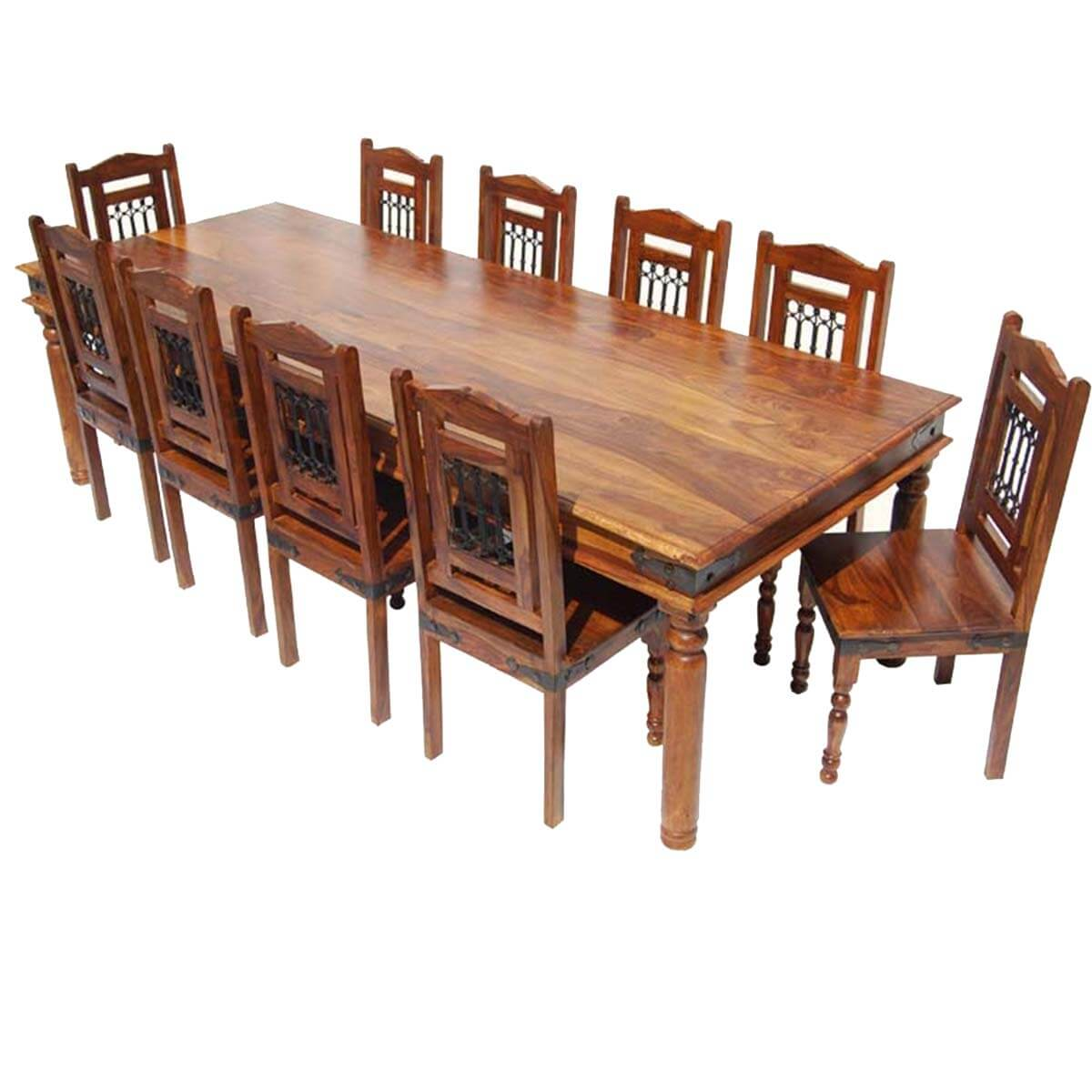 Solid wood large rustic dining room table chair sideboard set for Wooden dining room chairs