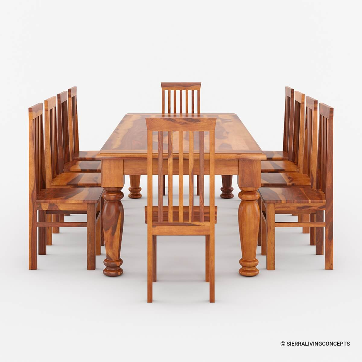 Large solid wood rustic dining table chair hutch set furniture for Dining room set with hutch
