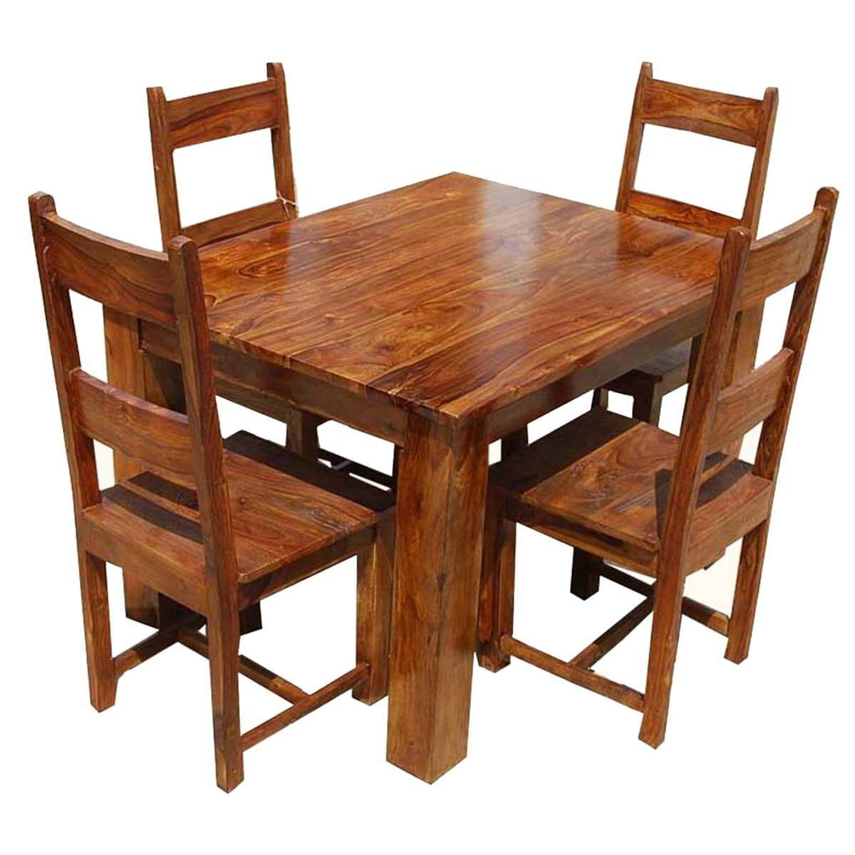 Rustic mission santa cruz solid wood dining room set for 4 for Solid wood dining table sets