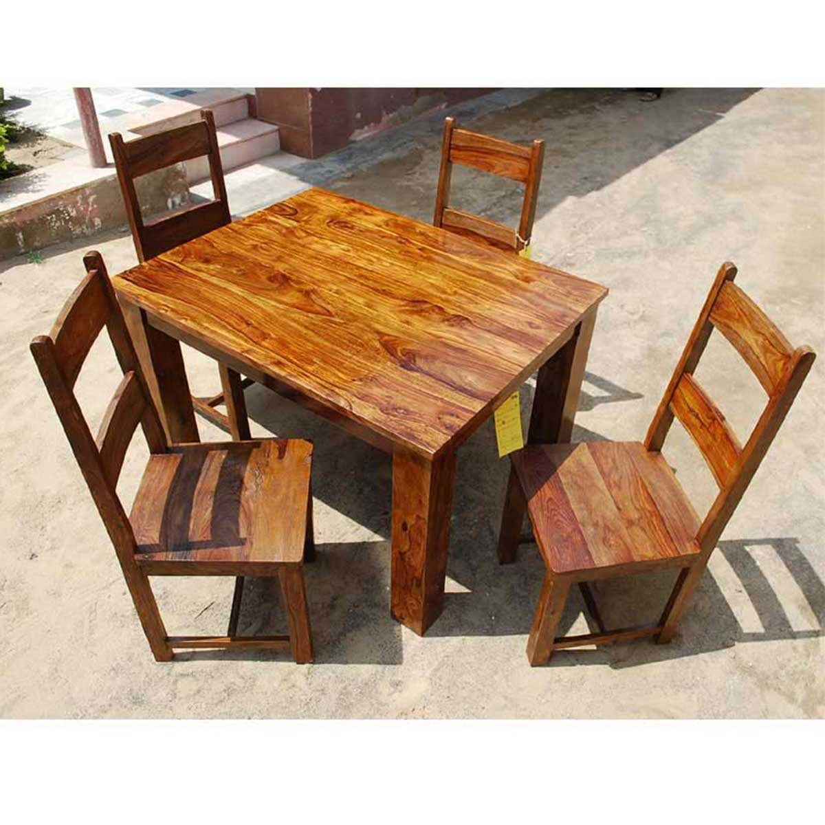 Dallas Ranch Solid Wood Rustic Dining Table Chairs Hutch Set: Rustic Mission Santa Cruz Solid Wood Dining Room Set For 4