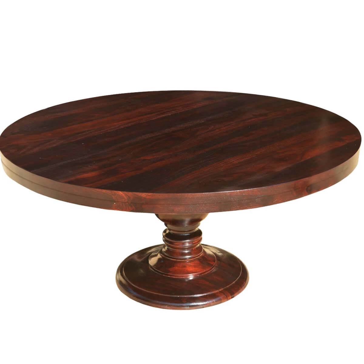 Colonial american solid wood pedestal 72 round dining table for Solid wood round dining room table