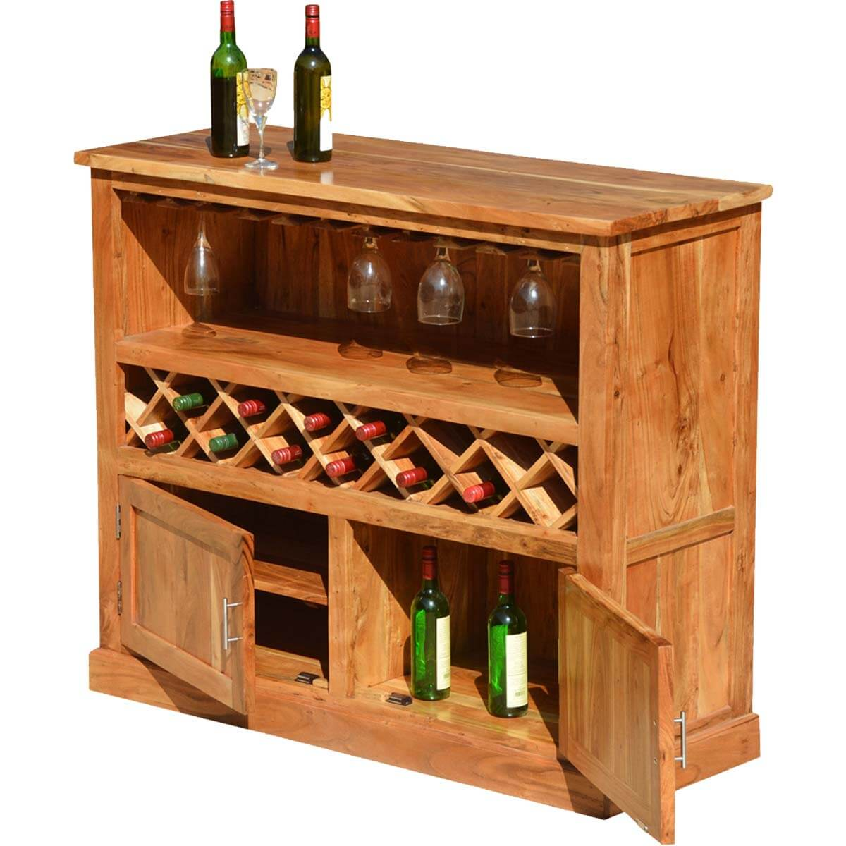 Wood Wine Bar ~ Modern rustic acacia wood bottle wine bar cabinet w