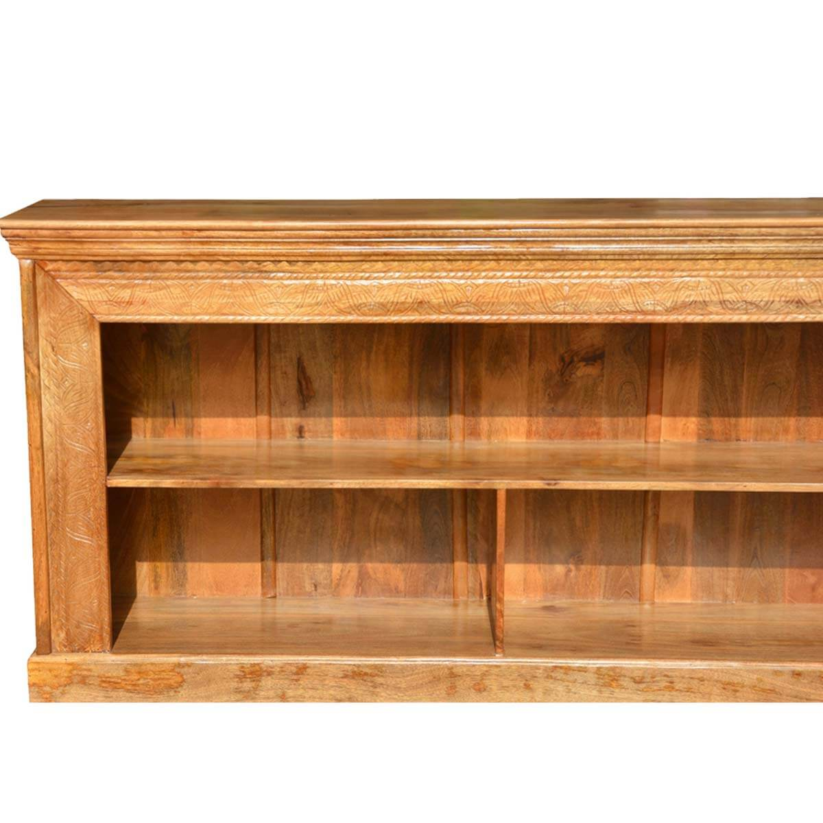 Large hand carved solid wood bookcase quot long tv stand media