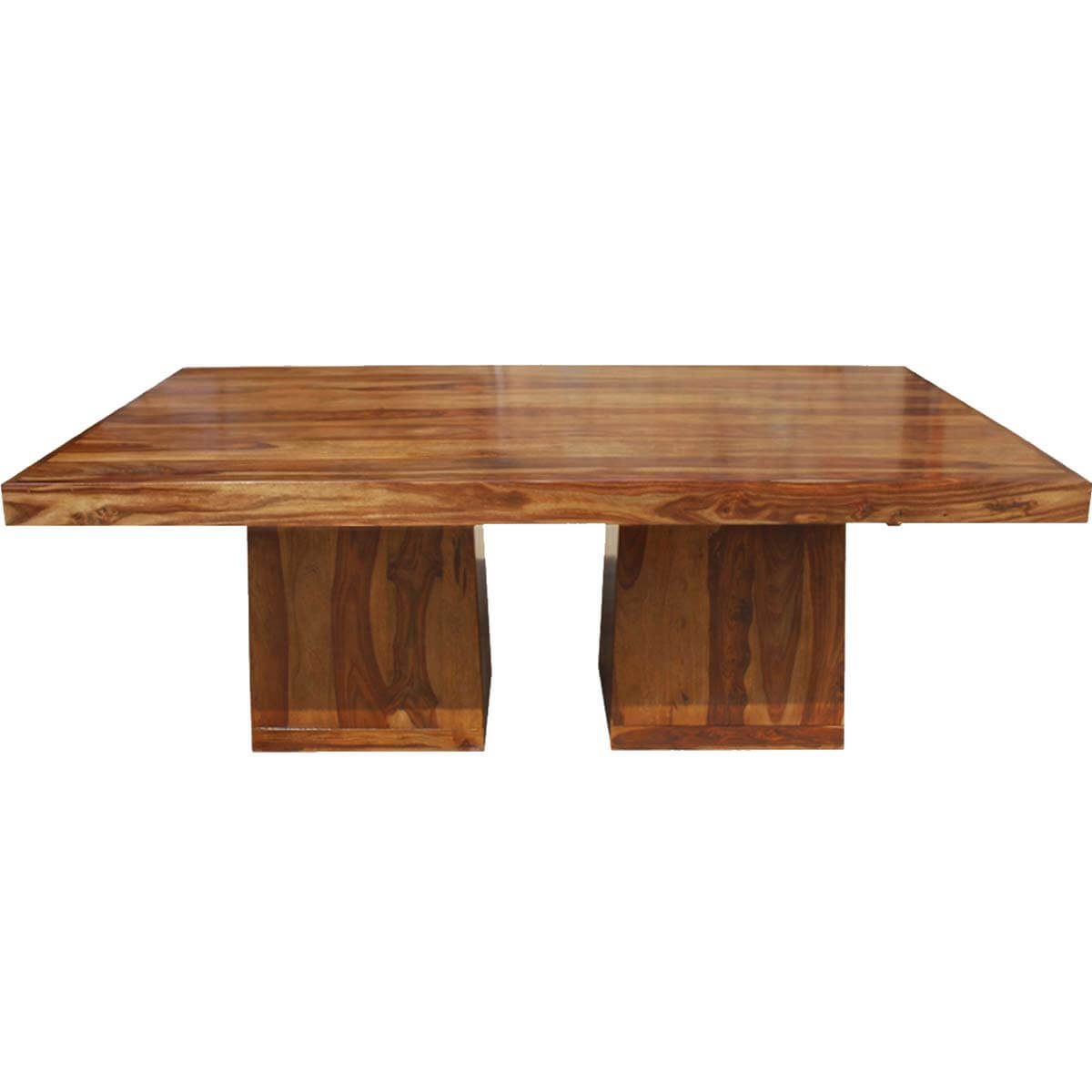 rustic double block solid wood storage base pedestal dining table