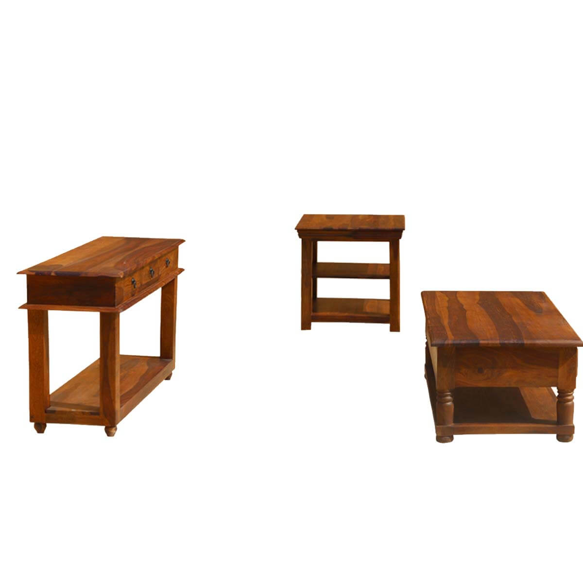 Early American Solid Wood Console Coffee Accent Table 3pc Set