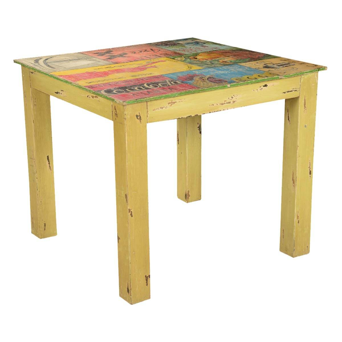 pop art labels mango wood yellow 35 square dining table. Black Bedroom Furniture Sets. Home Design Ideas
