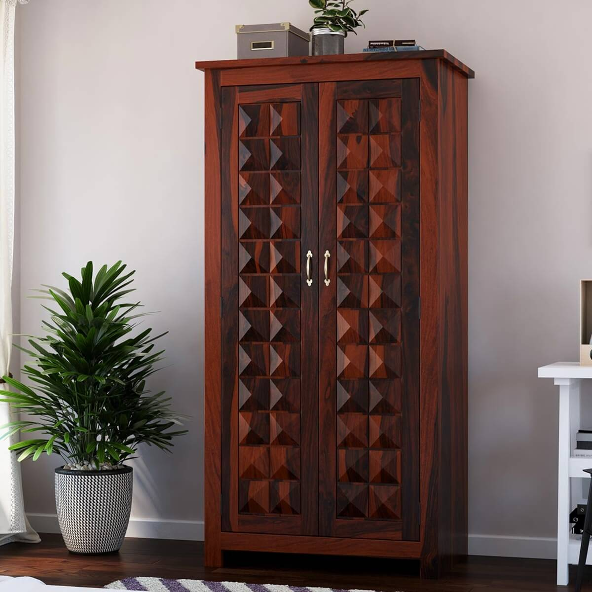 Clatonia Solid Wood Diamond Point Double Door Tall Armoire ...
