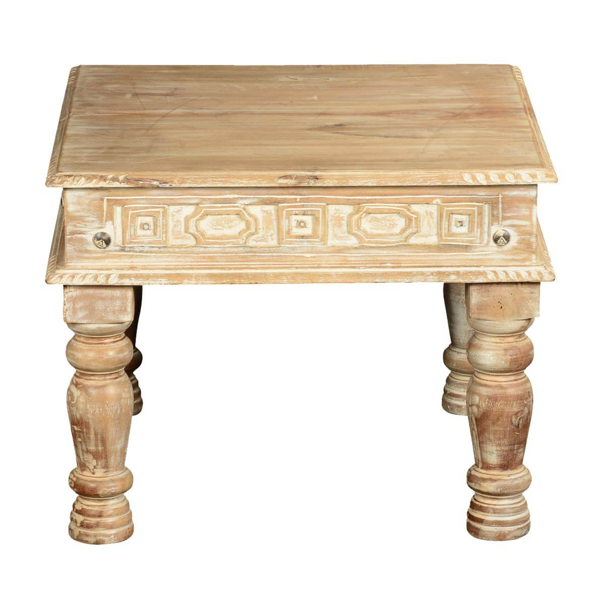 """Winter White Mango Wood 23.5"""" Hand Carved Square End Table"""