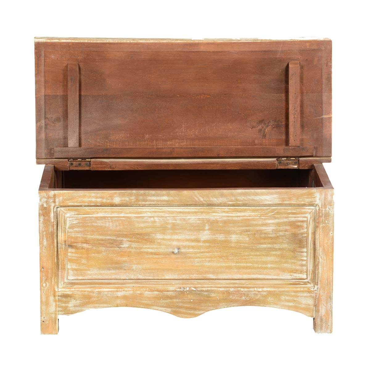 Winter white mango wood double lid storage coffee table chest Coffee table chest with storage