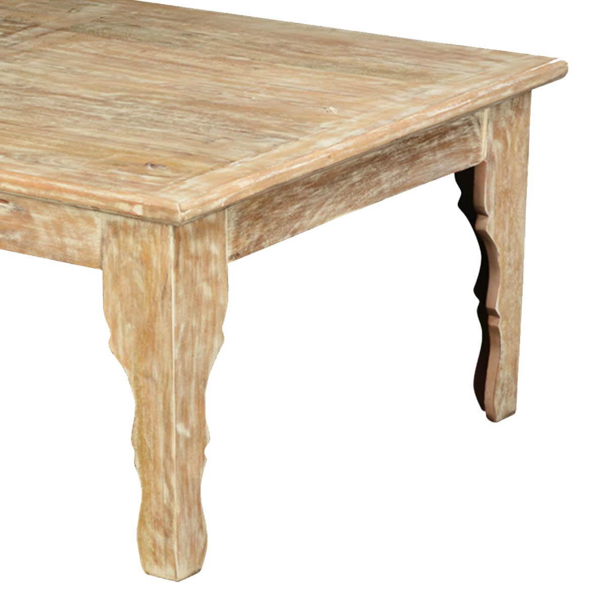 Rustic All Wood Coffee Table: Winter White Mango Wood Rustic Coffee Table