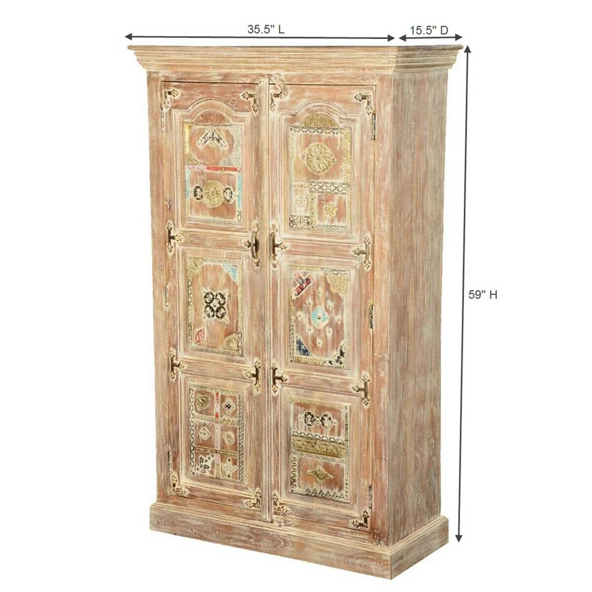 winter white brass bejeweled mango wood accent armoire. Black Bedroom Furniture Sets. Home Design Ideas