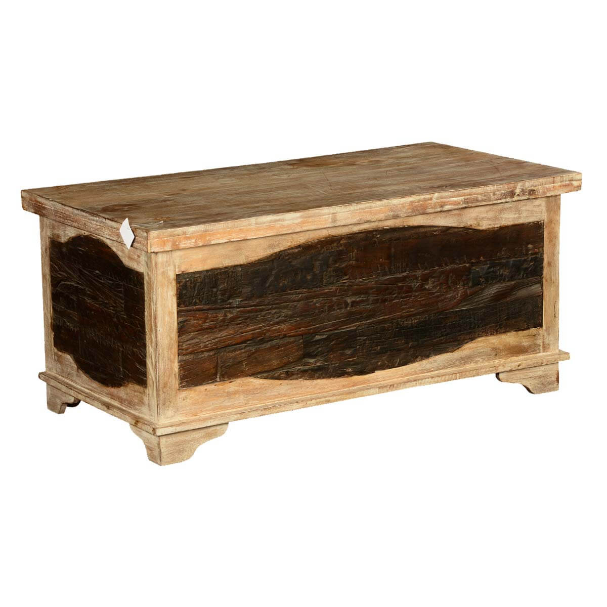 Rustic Log Cabin Railroad Ties Mango Wood Coffee Table Chest