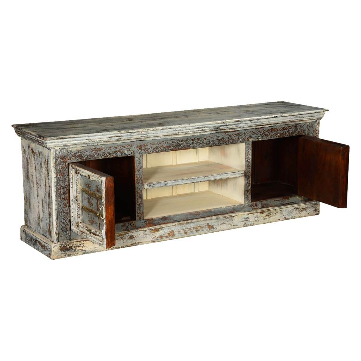 Gothic Winter Mango Wood Rustic Tv Console Media Stand