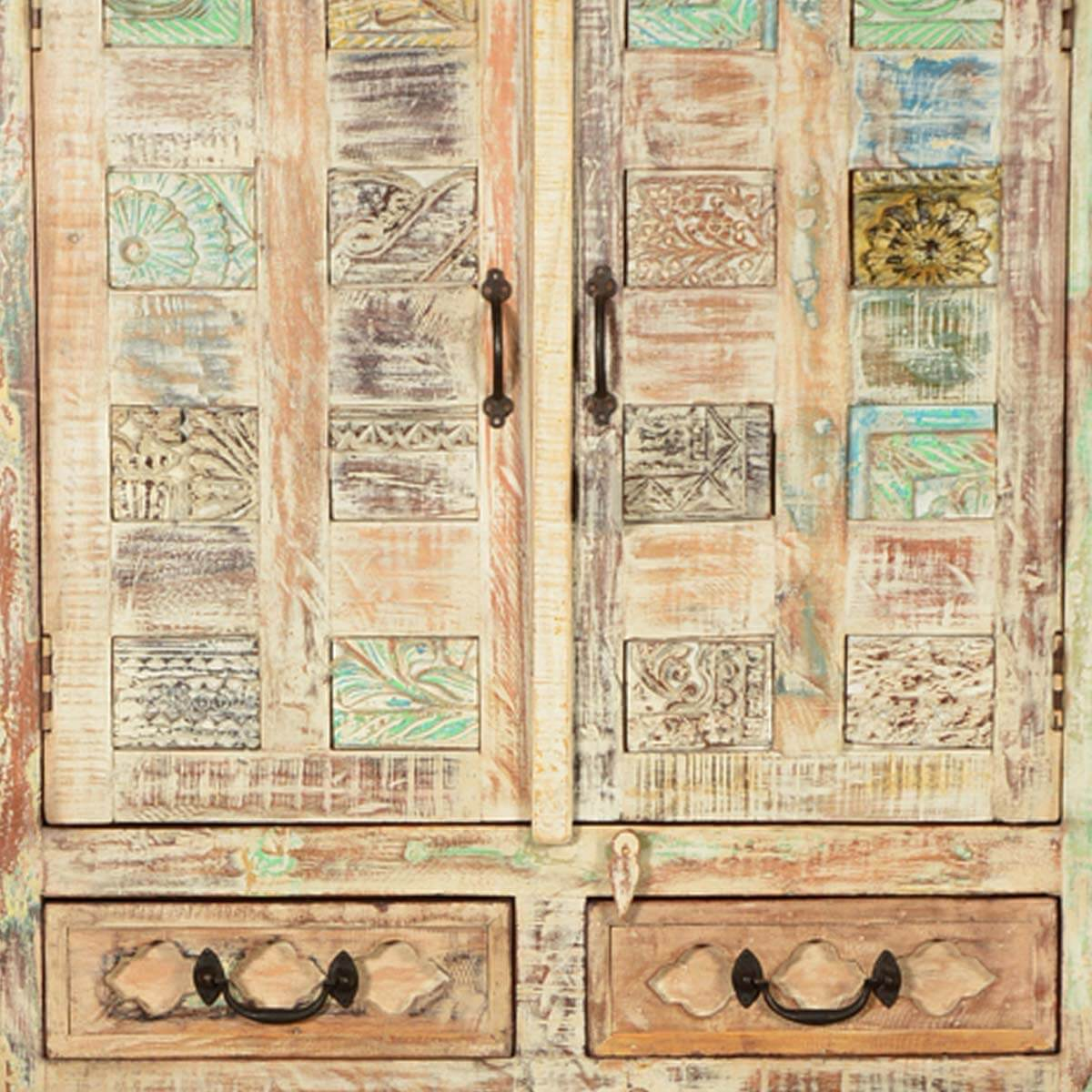 Lorain Wooden Patches Distressed Mango Wood 2 Drawer Armoire