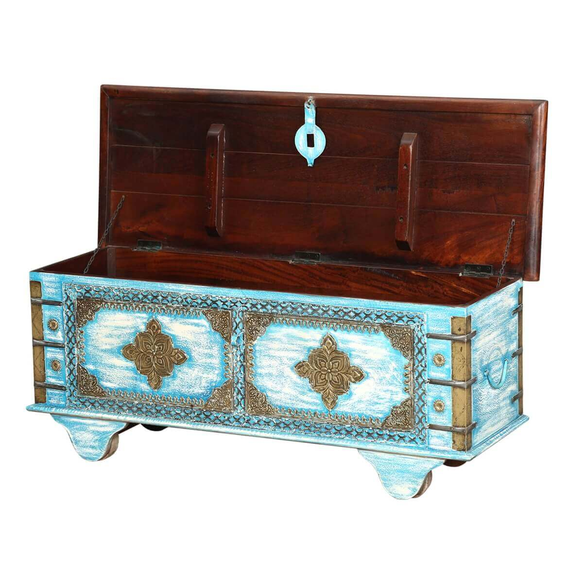 Blue Double Diamond Mango Wood Rolling Coffee Table Chest