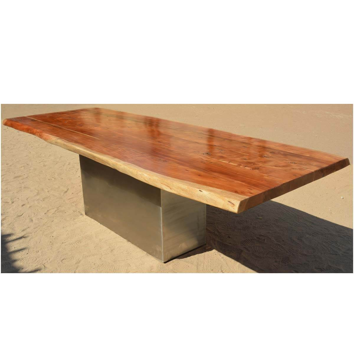 furniture live edge large dining table acacia wood block pedestal