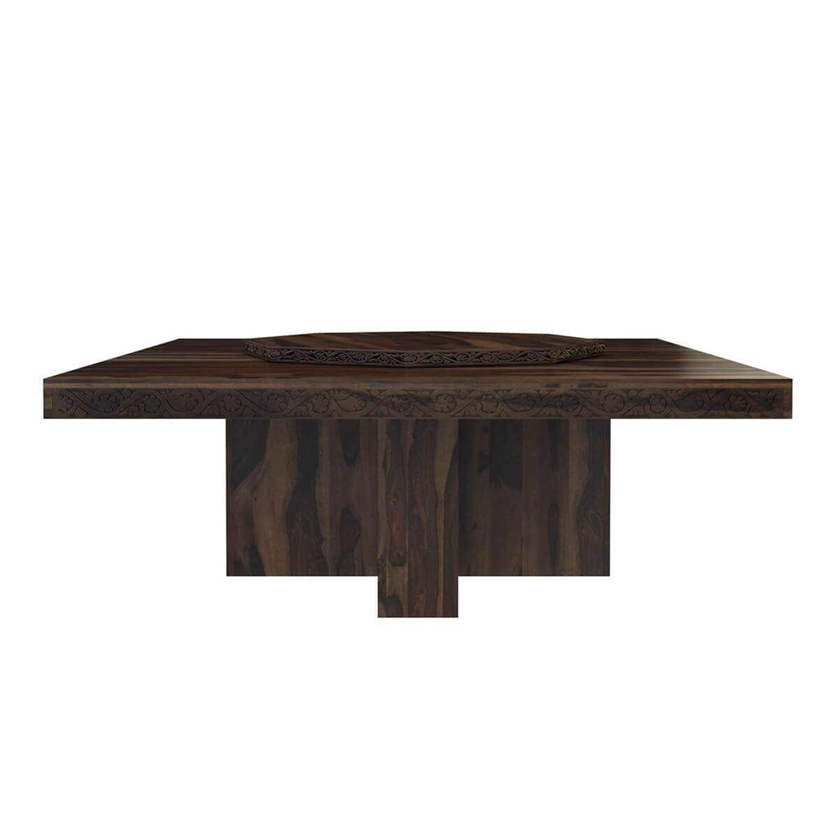 Square Pedestal Dining Table - Rustic solid wood large square pedestal dining table with lazy susan rustic solid wood large square pedestal dining table