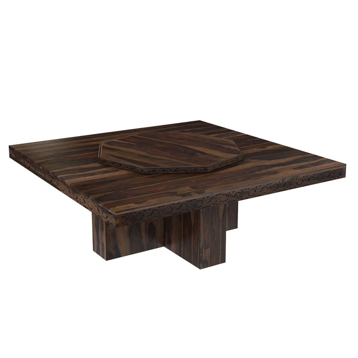 Rustic solid wood large square pedestal dining table with for Pedestal dining table
