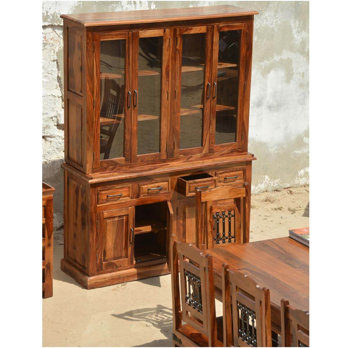 Dallas Ranch Solid Wood Rustic Dining Table Chairs Hutch Set: Camelot 13p Solid Wood Dining Set Buffet Breakfront Table