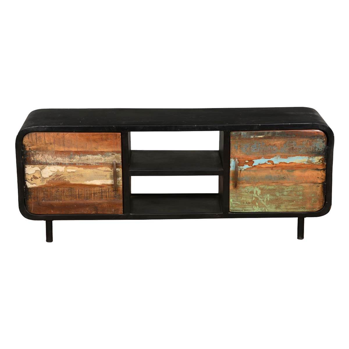 Rustic Industrial Reclaimed Wood Iron Tv Console Media