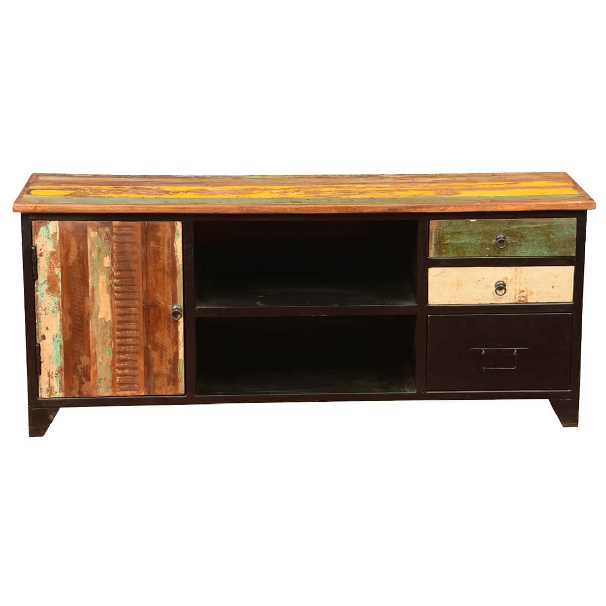 Stewart rustic reclaimed wood industrial tv media console for Barnwood media cabinet