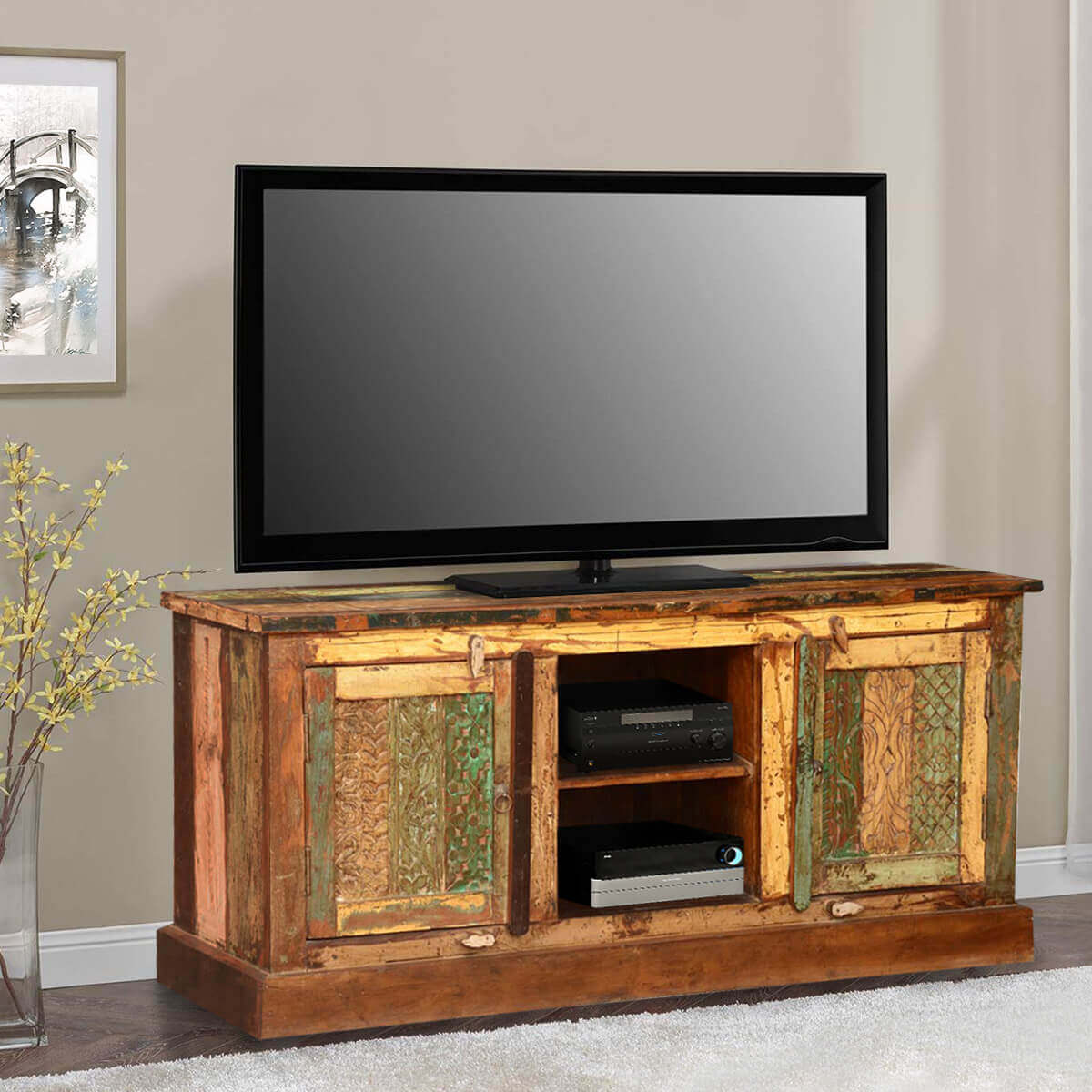 Pioneer Rustic Reclaimed Wood Open Shelf Media Tv Stand