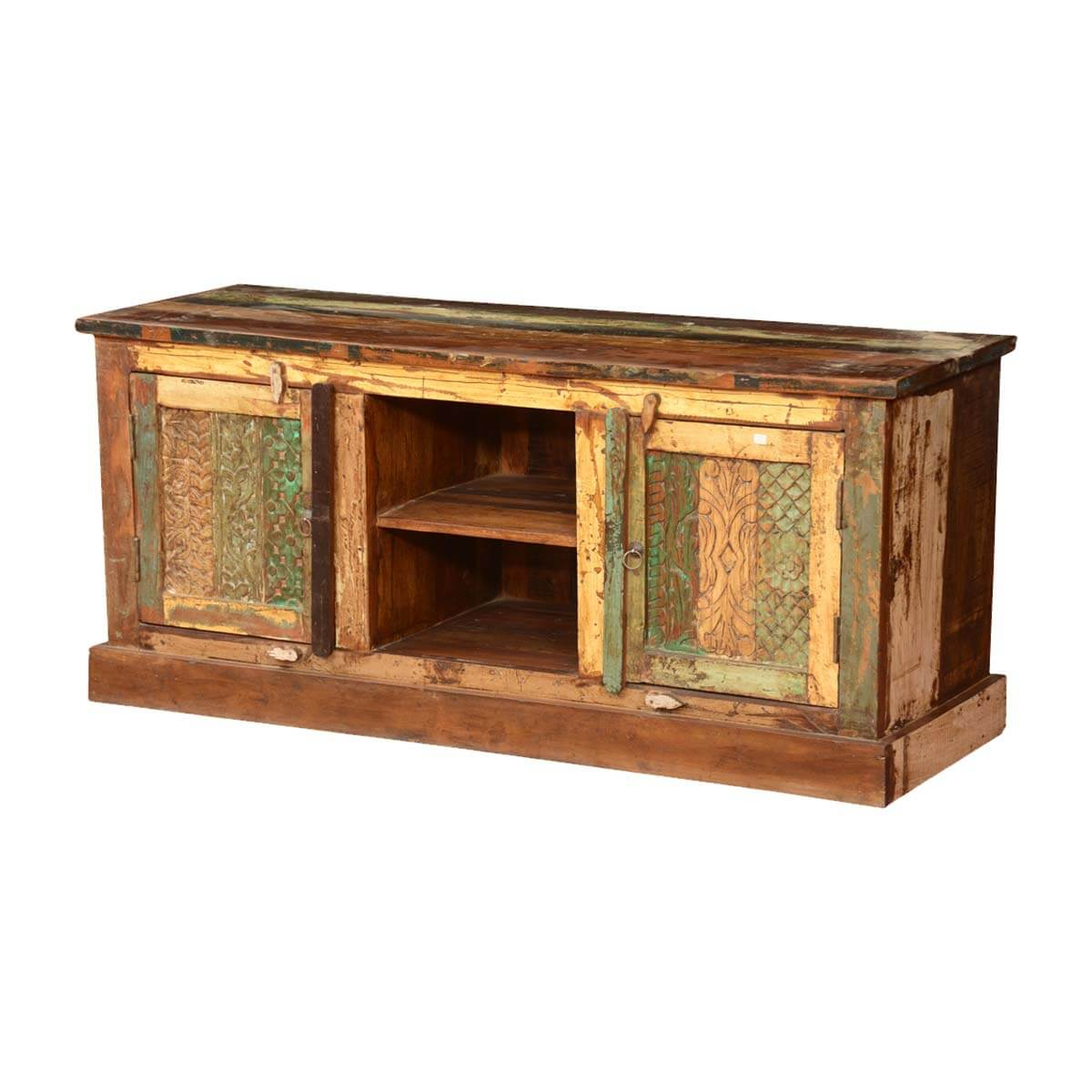 Pioneer rustic reclaimed wood tv console entertainment
