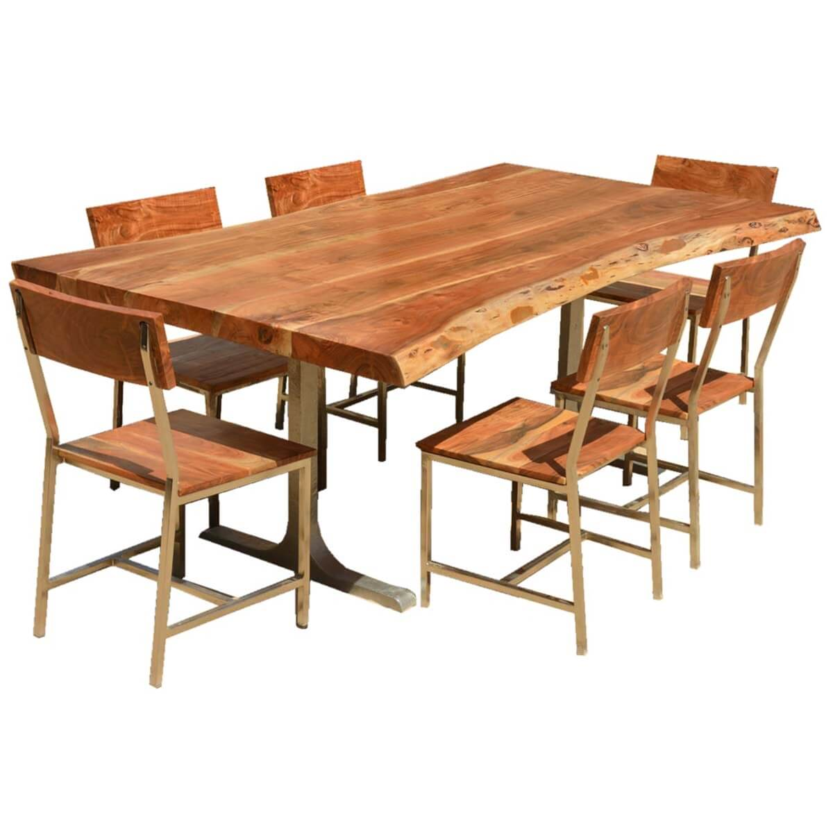 Sierra solid wood rustic live edge dining table chairs set for Solid wood dining table sets