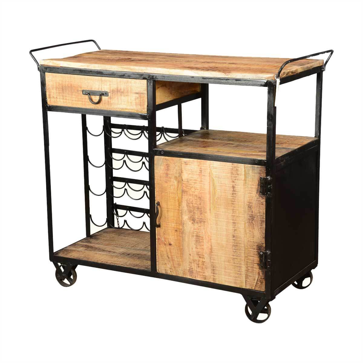 Celebration Wood Industrial Iron Deluxe Rolling Wine Bar