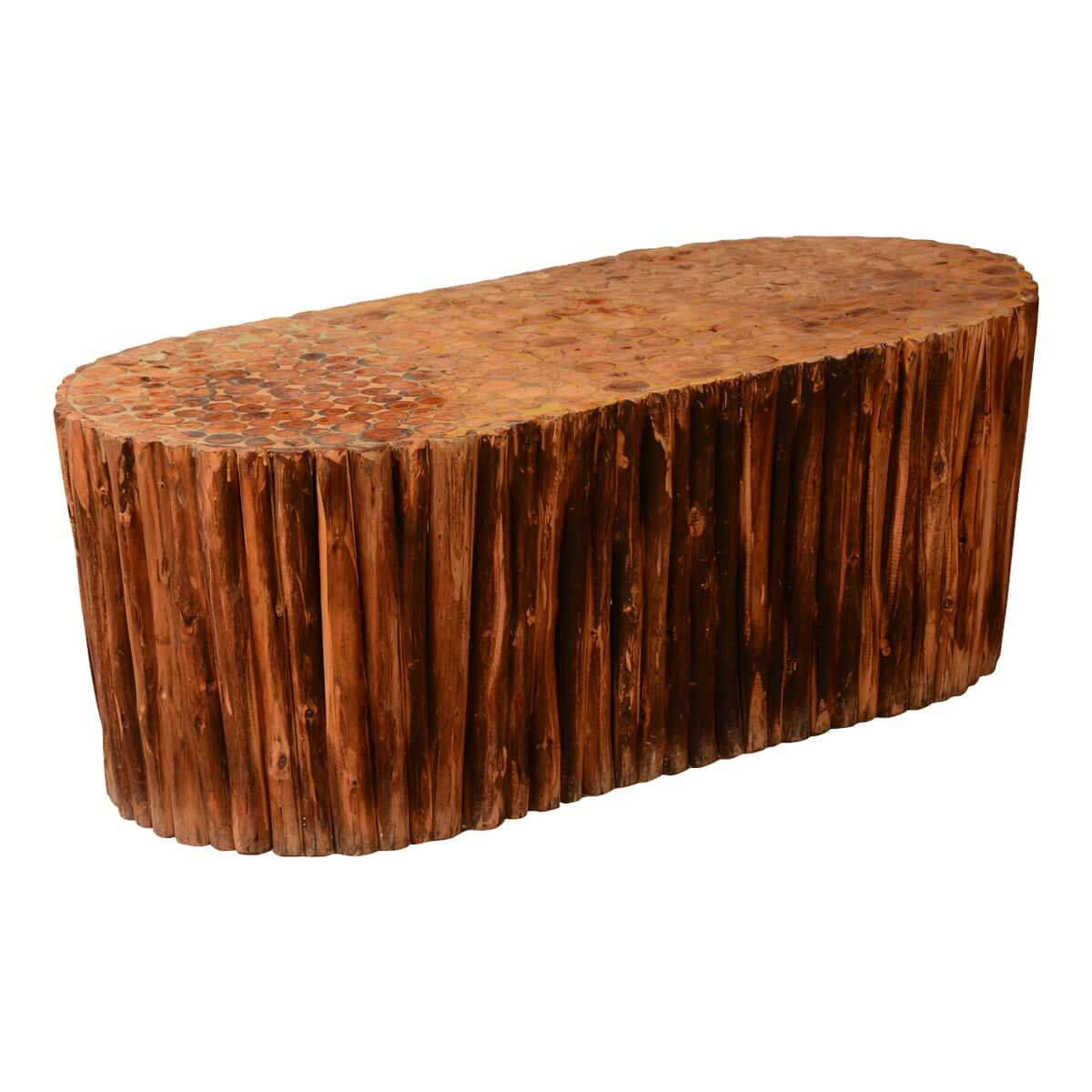 Log Cabin Hardwood Rustic Honeycomb Coffee Table
