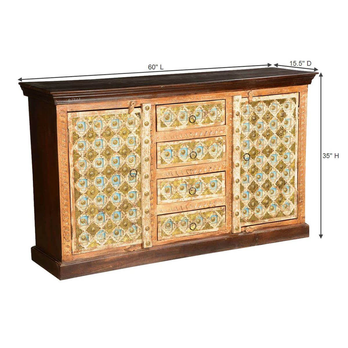 Turkish handcrafted brass inlay mango wood 4 drawer for Sideboard gold