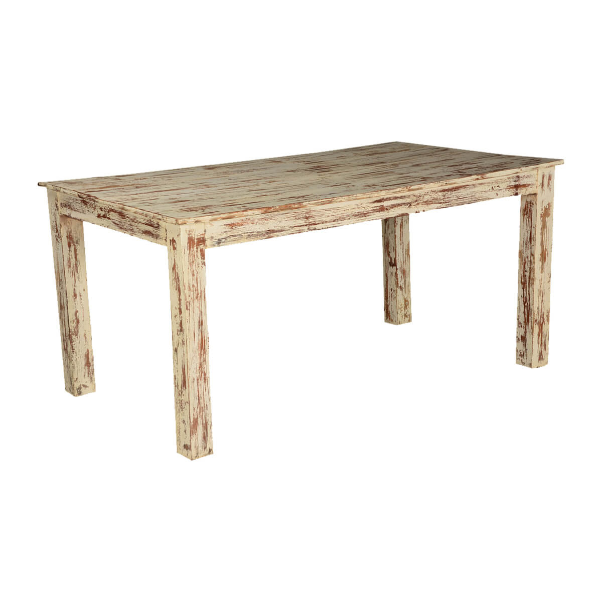Rustic White Brown Speckled Mango Wood 63 Kitchen Dining Table