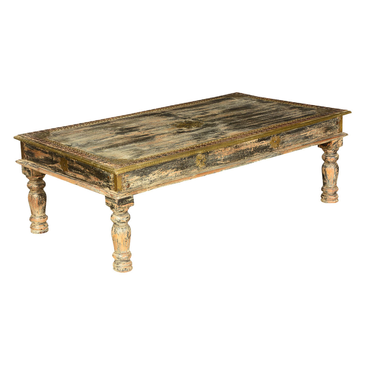 nottingham rustic mango wood brass inlay 55 coffee table