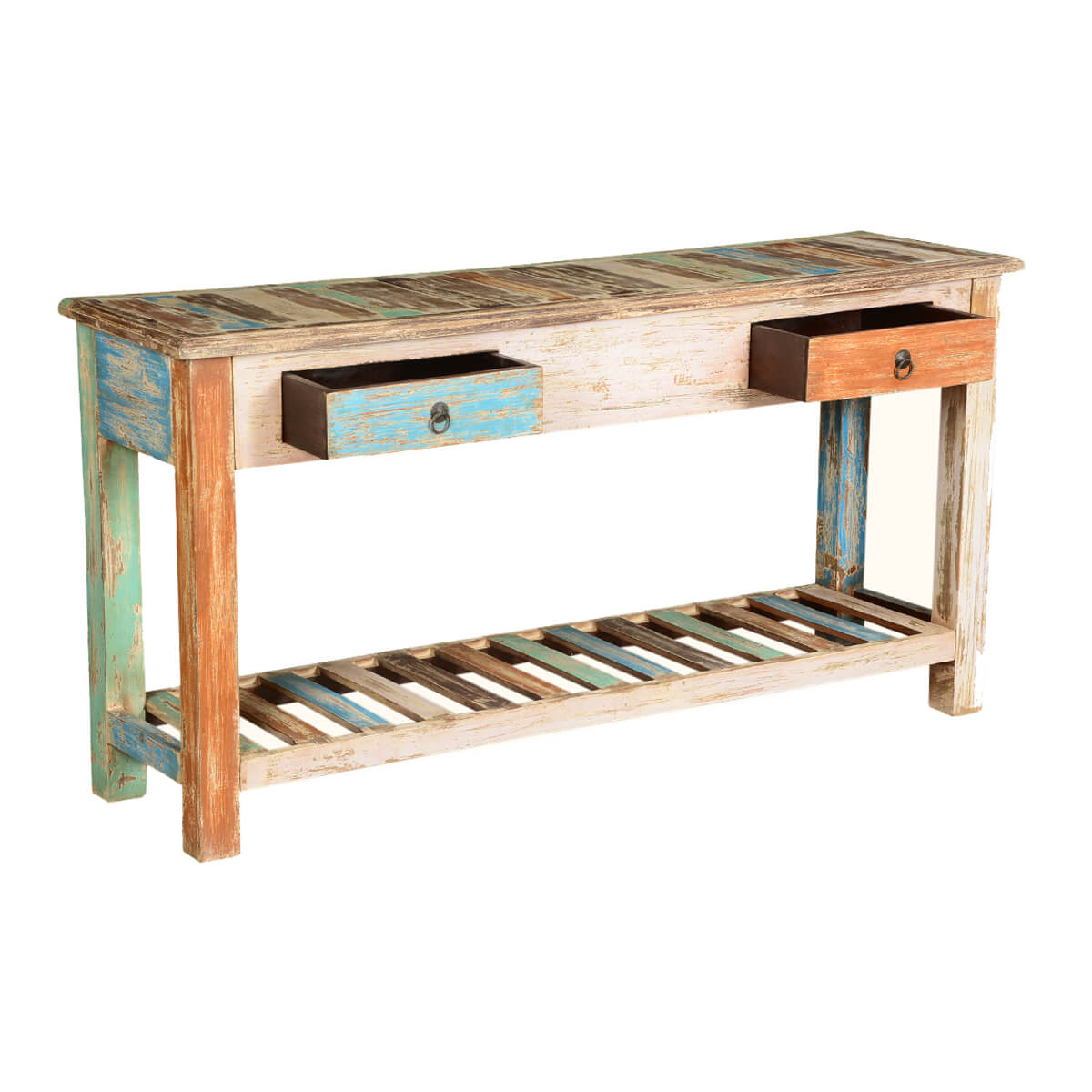 Rustic Colors Mango Wood 59 Quot Hall Console Table W Drawers