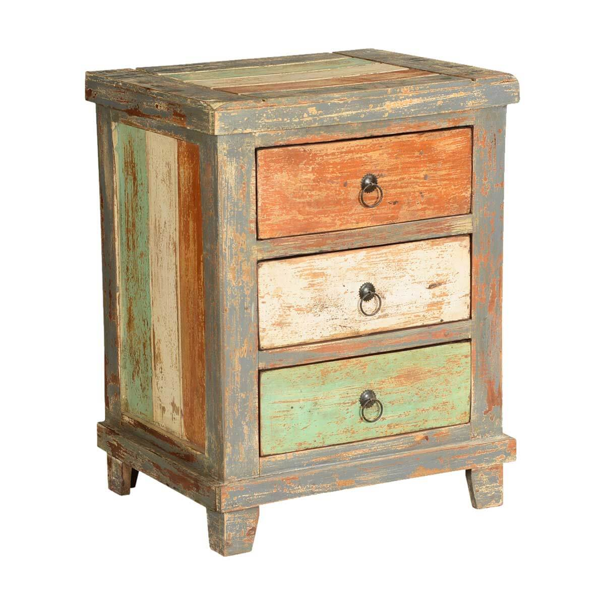 Orange white green stripes mango wood rustic nightstand for White wood nightstand