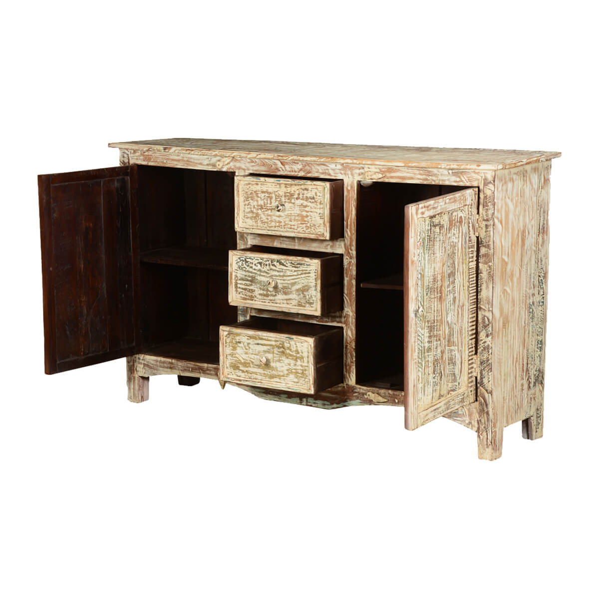 Distressed Wood Buffet ~ Antique distressed mango wood standing drawer sideboard