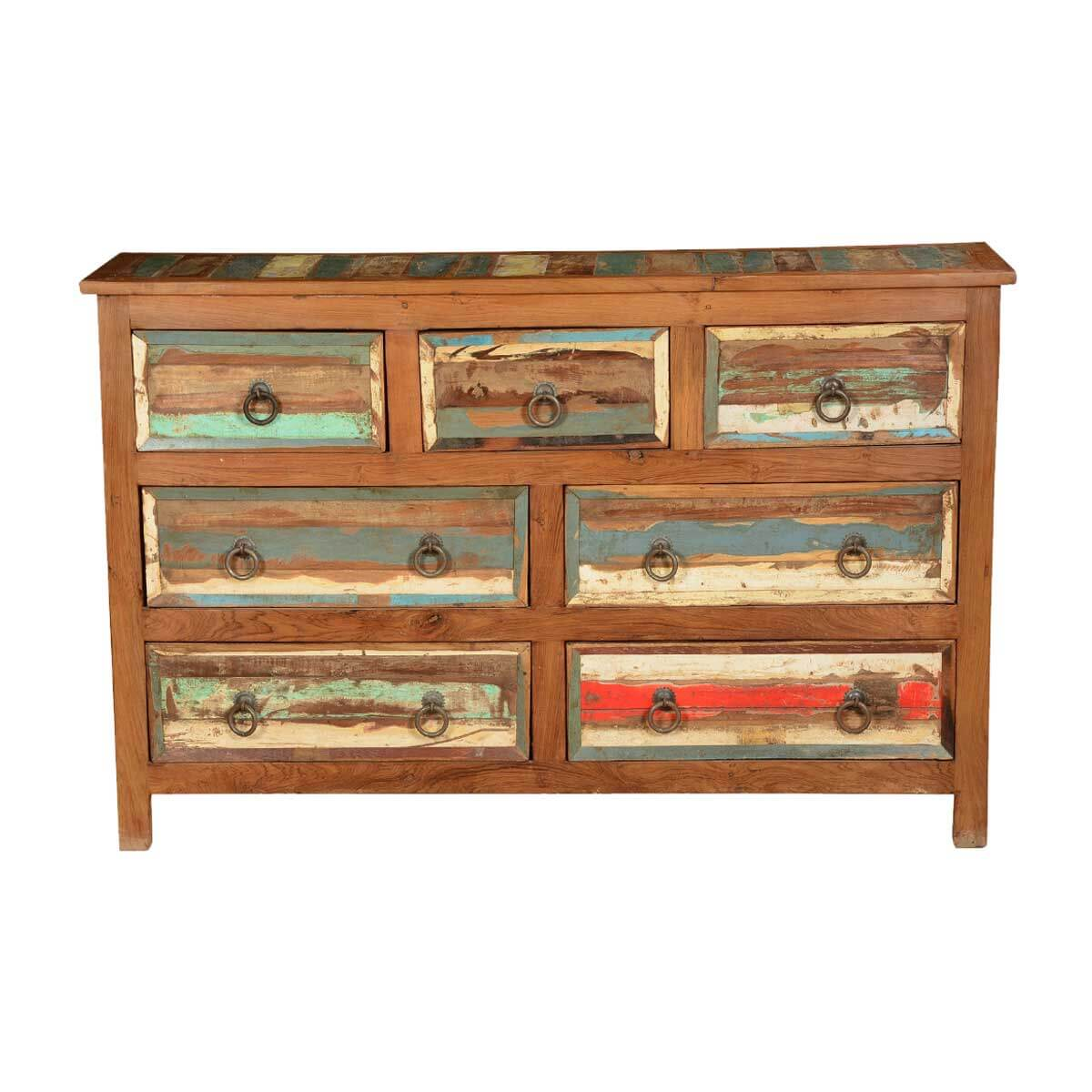 Rustic Colors Reclaimed Wood 7 Drawer Chest Dresser