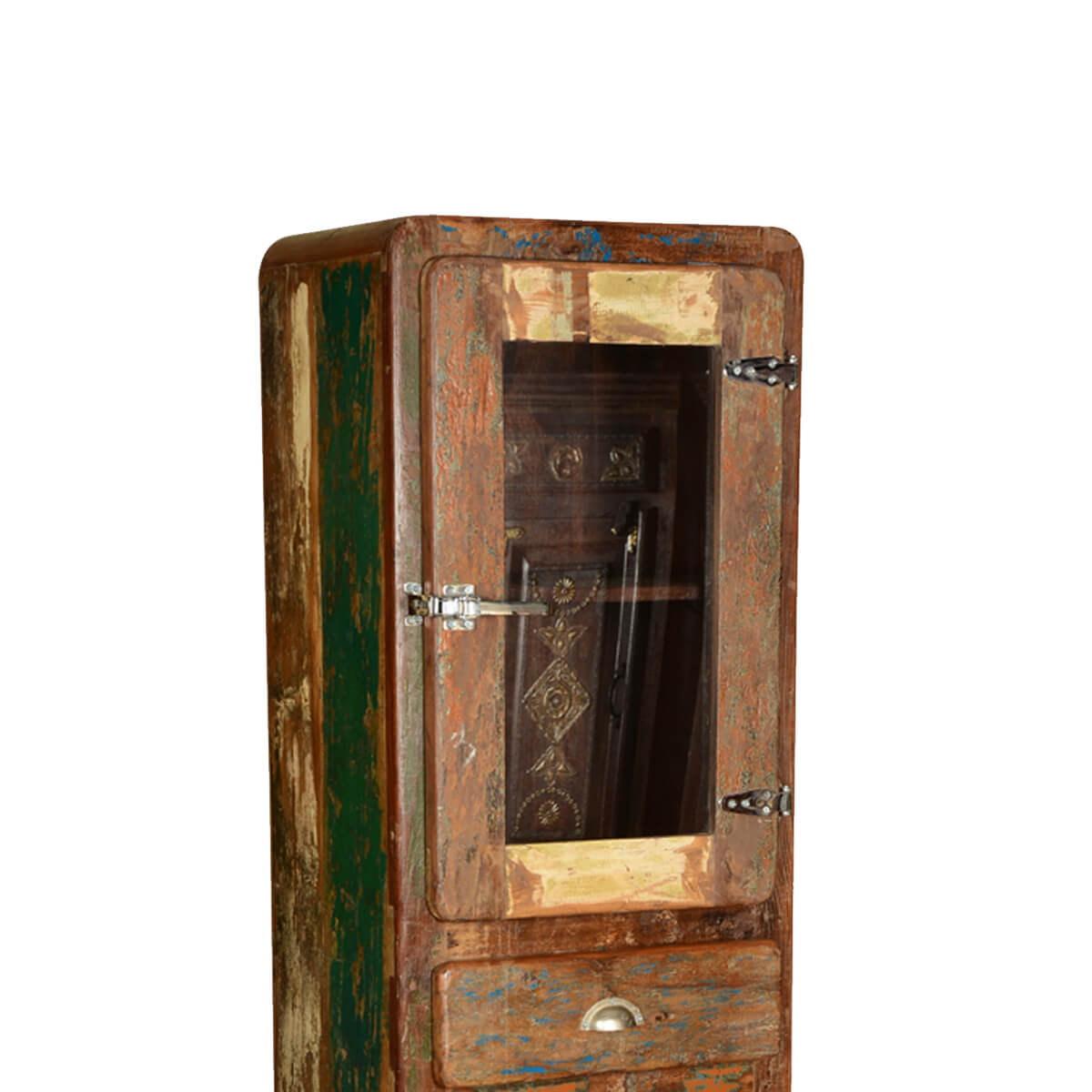 Rustic Icebox Reclaimed Wood Rolling Curio Cabinet