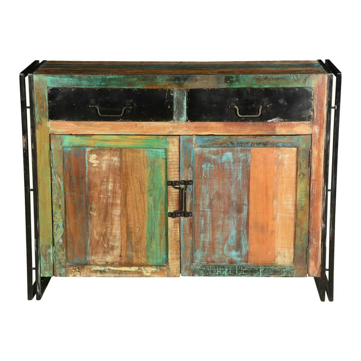 Iron And Wood Buffet ~ Industrial colors reclaimed wood iron freestanding