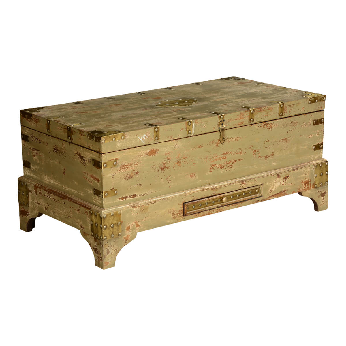 Gothic Treasures Mango Wood Rustic Standing Coffee Table Chest