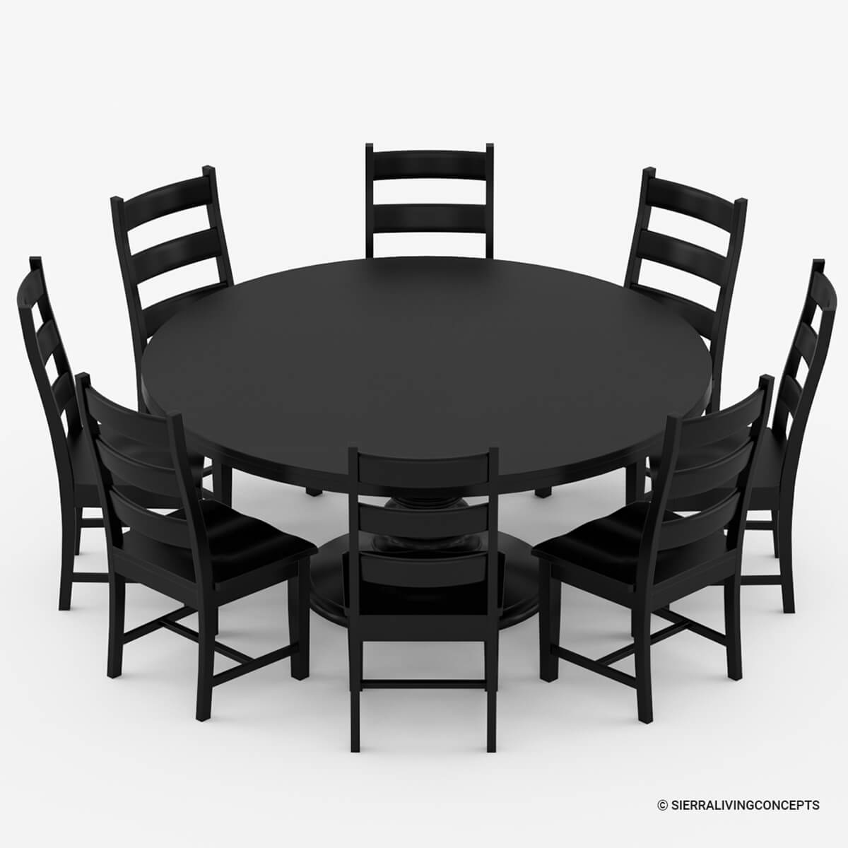 Nottingham rustic solid wood black round dining room table set for Black wood dining table