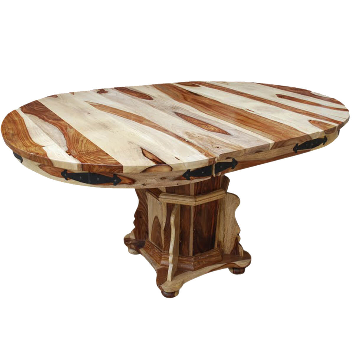 Dallas ranch solid wood pedestal round dining table w for Round extension dining table