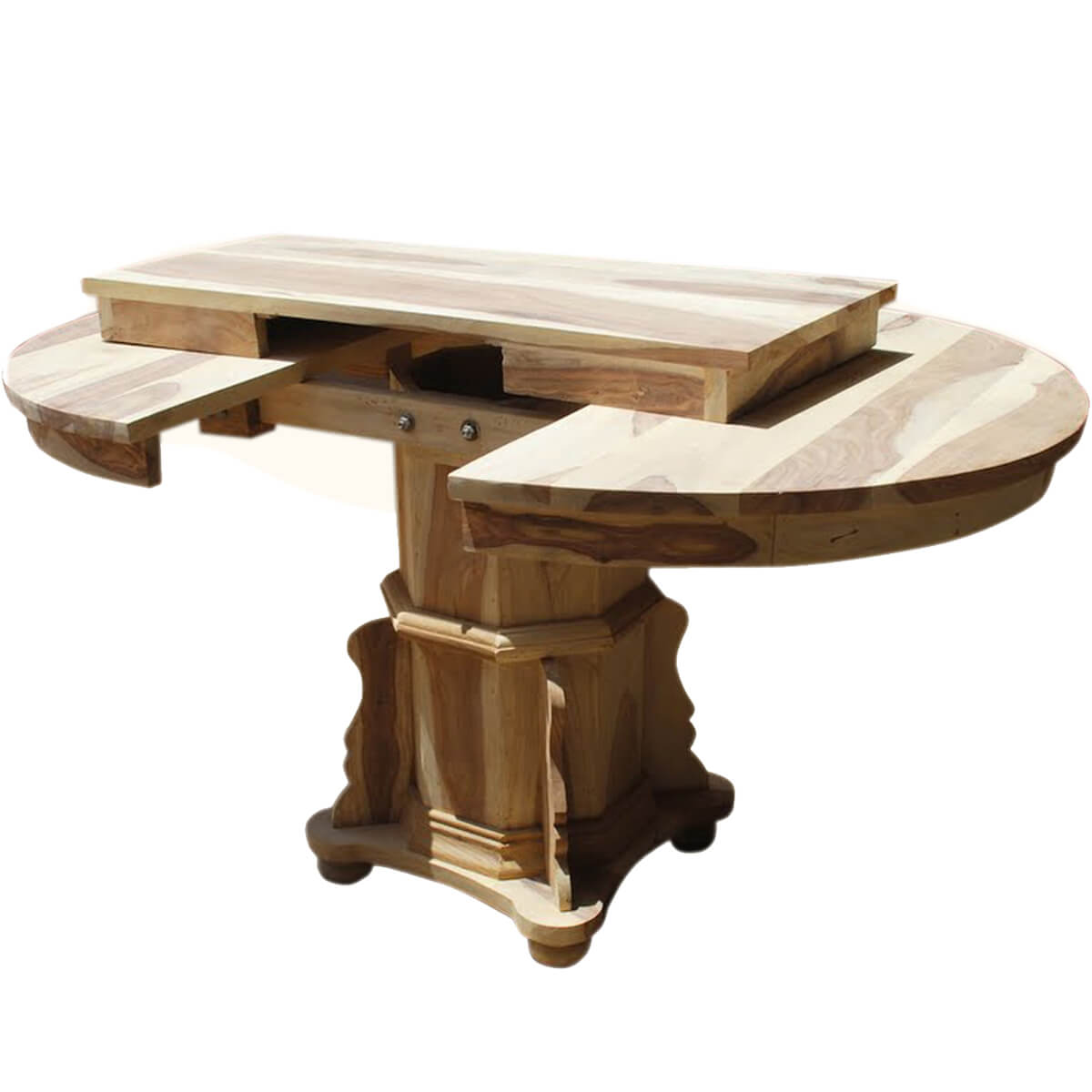 Wood Round Dining Table: Dallas Ranch Solid Wood Pedestal Round Dining Table W
